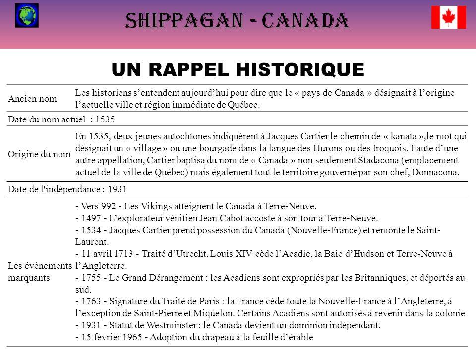 UN RAPPEL HISTORIQUE Ancien nom Les historiens sentendent aujourdhui pour dire que le « pays de Canada » désignait à lorigine lactuelle ville et région immédiate de Québec.