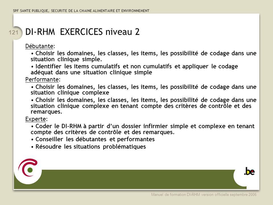 SPF SANTE PUBLIQUE, SECURITE DE LA CHAINE ALIMENTAIRE ET ENVIRONNEMENT Manuel de formation DI-RHM version officielle septembre 2006 121 DI-RHM EXERCIC