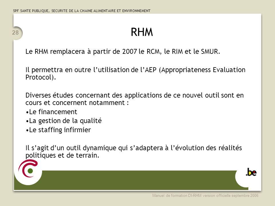 SPF SANTE PUBLIQUE, SECURITE DE LA CHAINE ALIMENTAIRE ET ENVIRONNEMENT Manuel de formation DI-RHM version officielle septembre 2006 28 RHM Le RHM remp