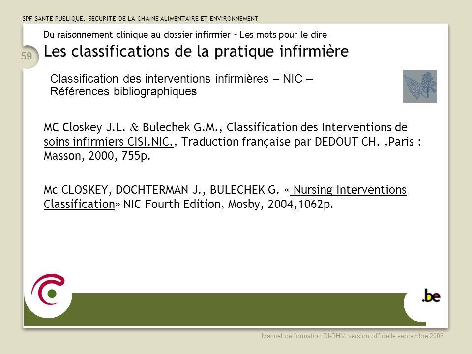 SPF SANTE PUBLIQUE, SECURITE DE LA CHAINE ALIMENTAIRE ET ENVIRONNEMENT Manuel de formation DI-RHM version officielle septembre 2006 59 MC Closkey J.L.