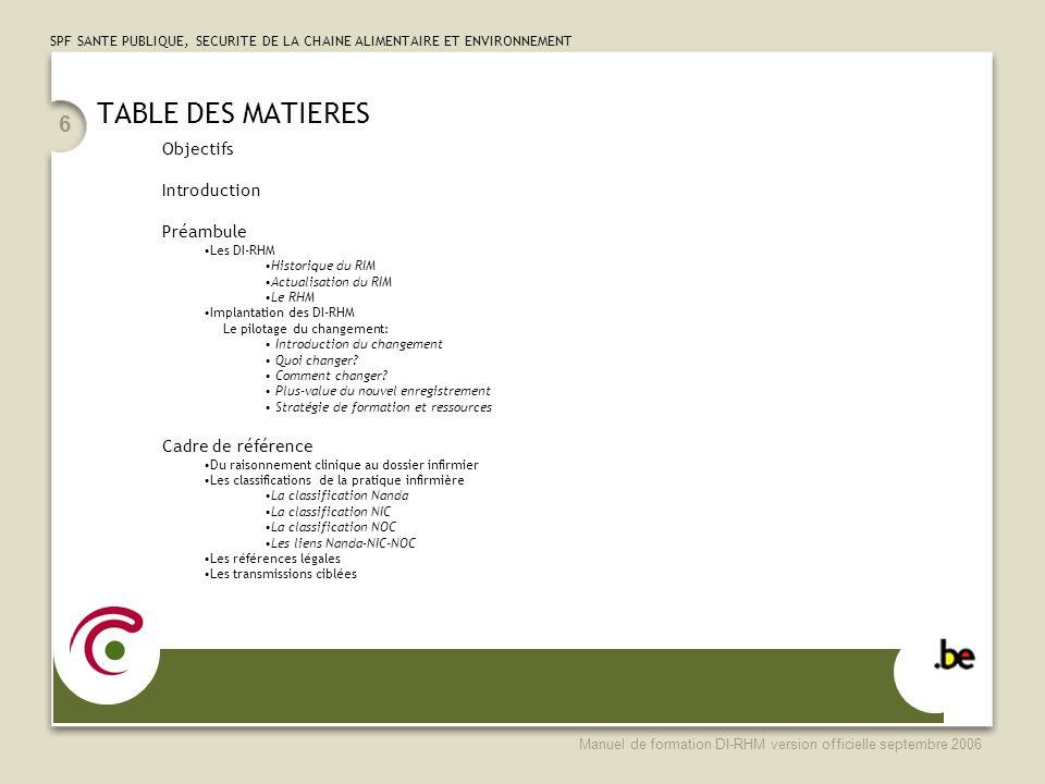 SPF SANTE PUBLIQUE, SECURITE DE LA CHAINE ALIMENTAIRE ET ENVIRONNEMENT Manuel de formation DI-RHM version officielle septembre 2006 47 DiagnosticsInterventionsRésultats Classification des diagnostics infirmiers Classification des interventions de soins infirmiers Classification des résultats de soins infirmiers NANDA International N.I.CN.O.C 172 diagnostics infirmiers 7e é dition fran ç aise 2006 433 interventions 2e é dition fran ç aise 2000 190 r é sultats 1 è re é dition fran ç aise 1999 172 diagnostics infirmiers É dition NANDA 2005 anglophone 514 interventions 4e é dition anglophone 2004 330 r é sultats 3e é dition anglophone 2004 Classification de la pratique infirmière Du raisonnement clinique au dossier infirmier – Les mots pour le dire