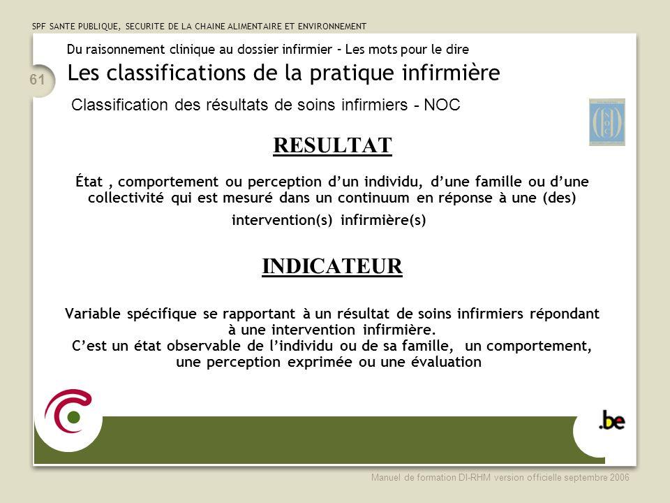 SPF SANTE PUBLIQUE, SECURITE DE LA CHAINE ALIMENTAIRE ET ENVIRONNEMENT Manuel de formation DI-RHM version officielle septembre 2006 61 RESULTAT État,