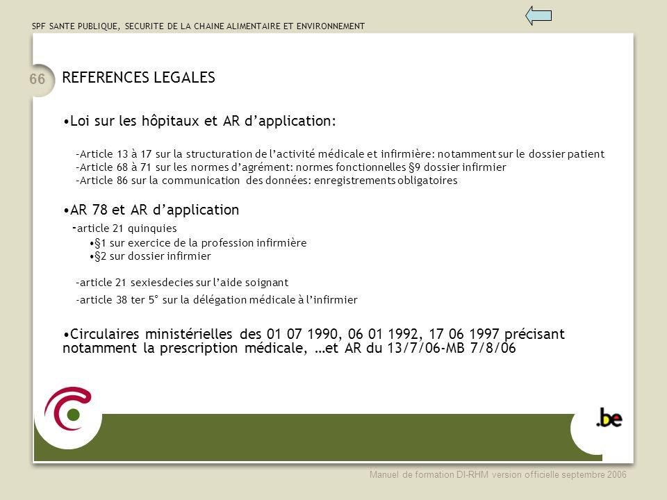 SPF SANTE PUBLIQUE, SECURITE DE LA CHAINE ALIMENTAIRE ET ENVIRONNEMENT Manuel de formation DI-RHM version officielle septembre 2006 66 REFERENCES LEGA