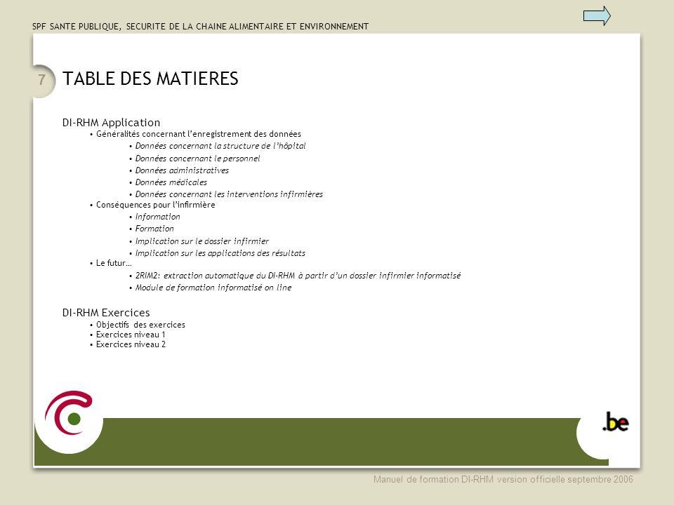SPF SANTE PUBLIQUE, SECURITE DE LA CHAINE ALIMENTAIRE ET ENVIRONNEMENT Manuel de formation DI-RHM version officielle septembre 2006 7 TABLE DES MATIER