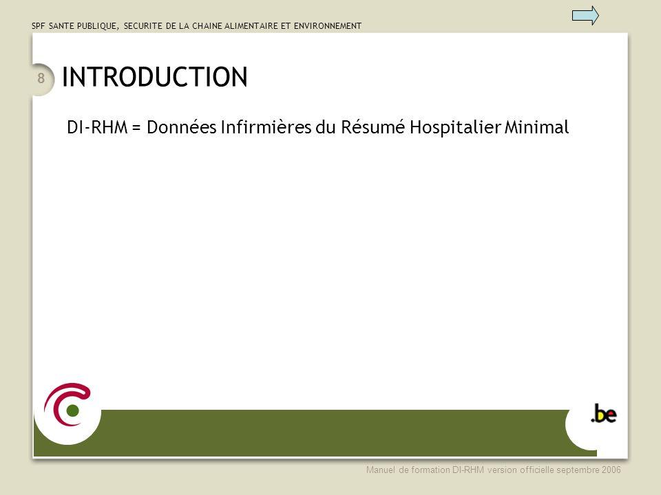 SPF SANTE PUBLIQUE, SECURITE DE LA CHAINE ALIMENTAIRE ET ENVIRONNEMENT Manuel de formation DI-RHM version officielle septembre 2006 89 DONNEES CONCERNANT LES INTERVENTIONS INFIRMIERES Effectuées par des praticiens de l art infirmier: –infirmière en chef, –Infirmières graduées et brevetées, –sage femmes, –assistante en soins hospitaliers -prestataire dans le cadre de A.R.