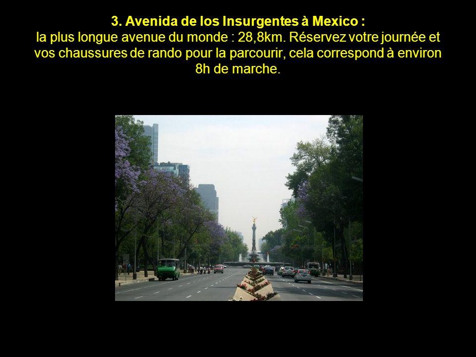 3.Avenida de los Insurgentes à Mexico : la plus longue avenue du monde : 28,8km.