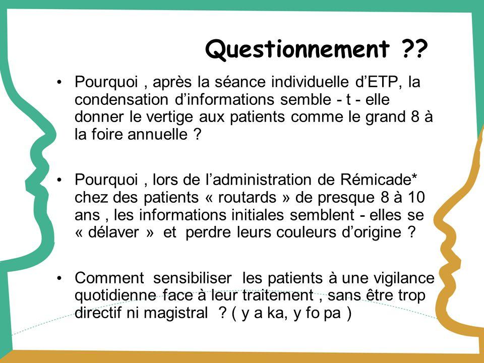Questionnement ?? Pourquoi, après la séance individuelle dETP, la condensation dinformations semble - t - elle donner le vertige aux patients comme le