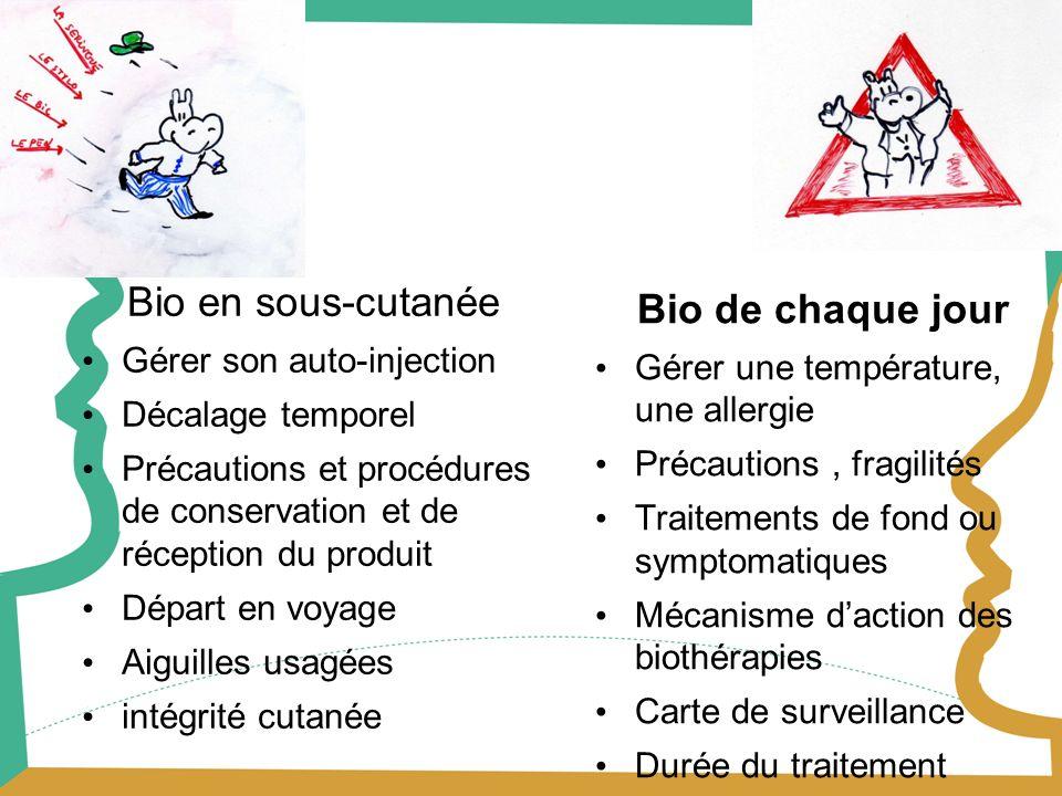 Bio de chaque jour Gérer une température, une allergie Précautions, fragilités Traitements de fond ou symptomatiques Mécanisme daction des biothérapie