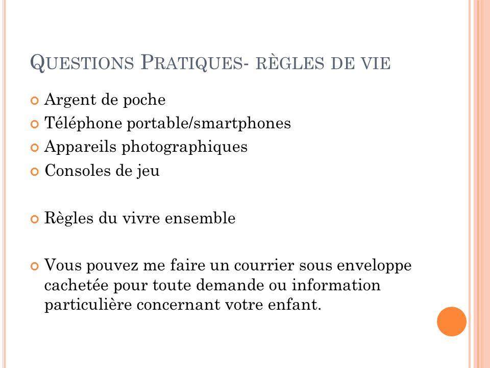 Q UESTIONS P RATIQUES - RÈGLES DE VIE Argent de poche Téléphone portable/smartphones Appareils photographiques Consoles de jeu Règles du vivre ensembl
