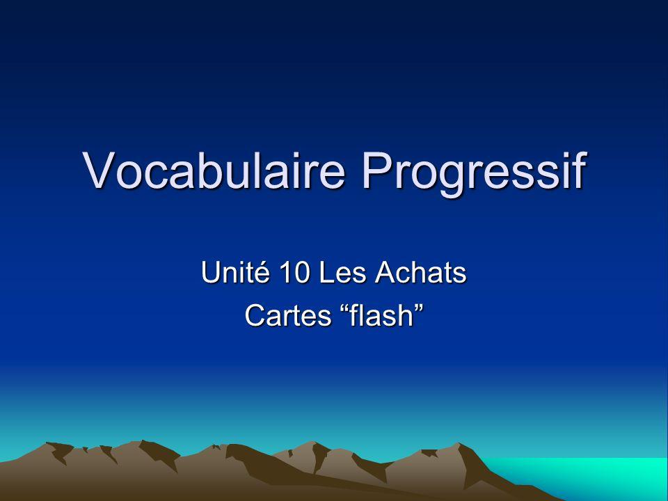 Vocabulaire Progressif Unité 10 Les Achats Cartes flash