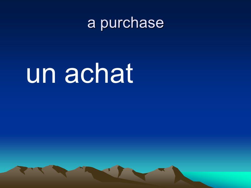 a purchase un achat
