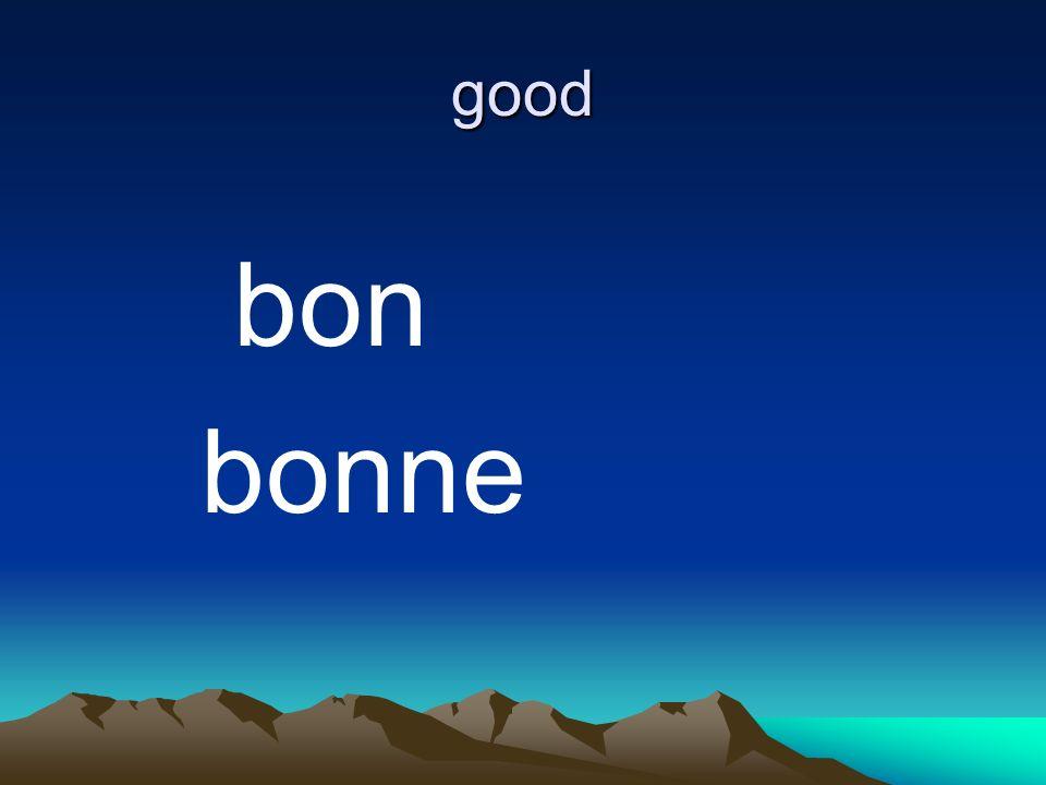 good bon bonne