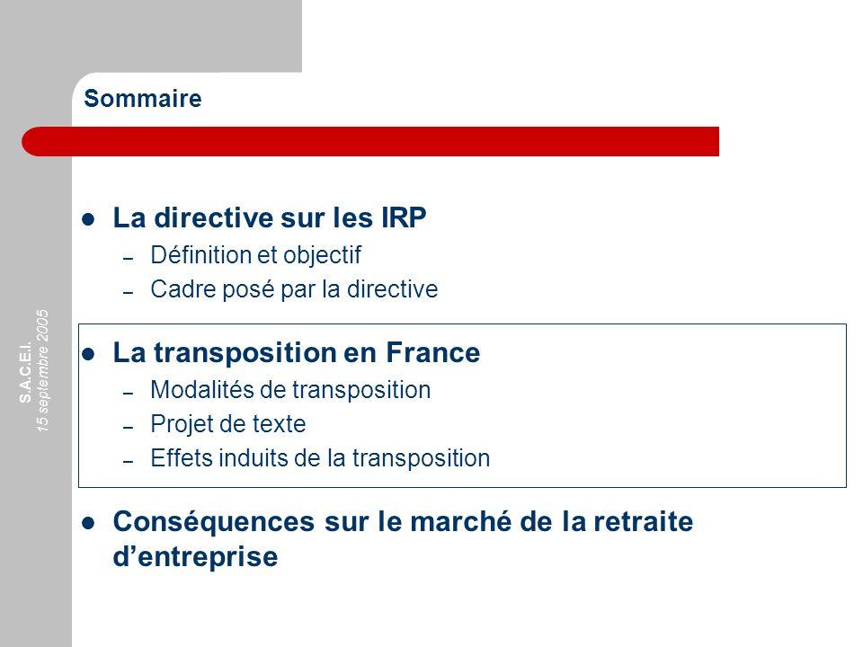 S.A.C.E.I. 15 septembre 2005 Sommaire La directive sur les IRP – Définition et objectif – Cadre posé par la directive La transposition en France – Mod