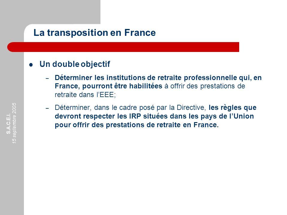 S.A.C.E.I. 15 septembre 2005 Un double objectif – Déterminer les institutions de retraite professionnelle qui, en France, pourront être habilitées à o