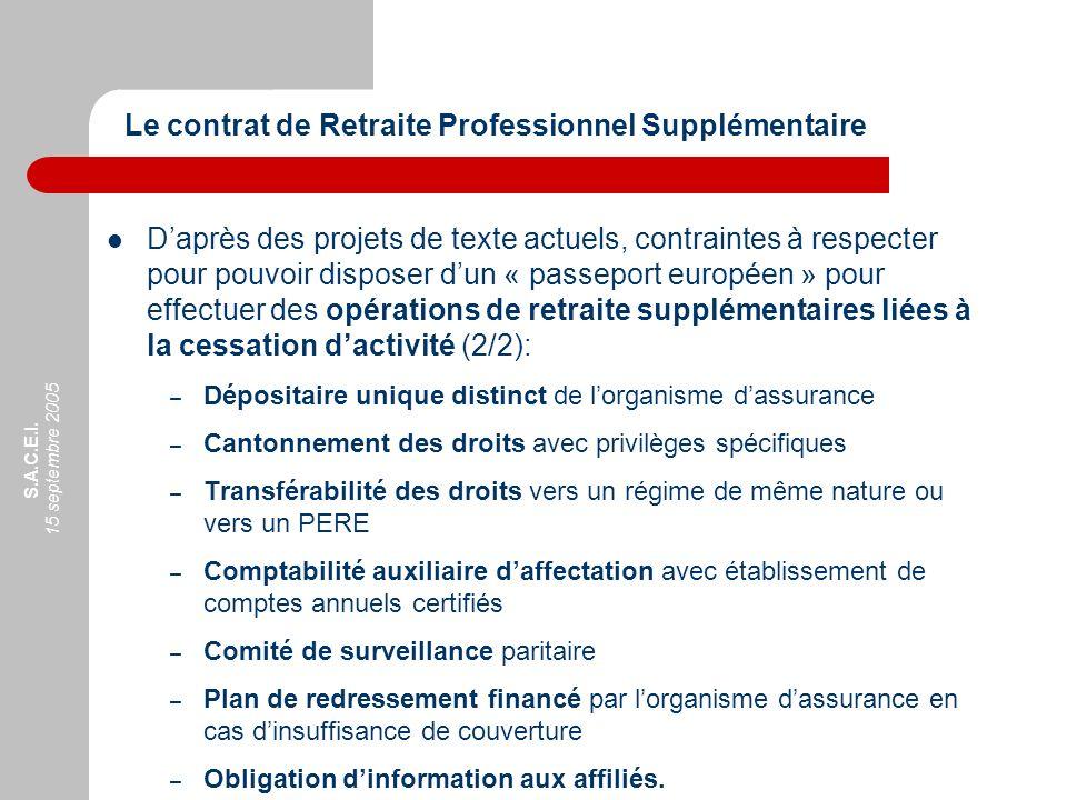 S.A.C.E.I. 15 septembre 2005 Daprès des projets de texte actuels, contraintes à respecter pour pouvoir disposer dun « passeport européen » pour effect