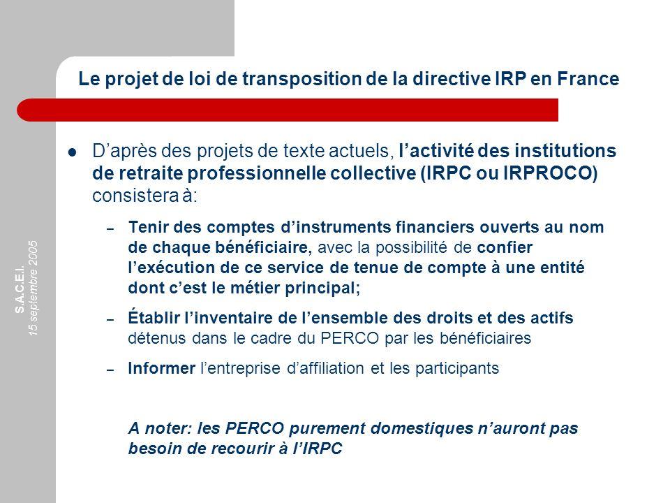 S.A.C.E.I. 15 septembre 2005 Daprès des projets de texte actuels, lactivité des institutions de retraite professionnelle collective (IRPC ou IRPROCO)