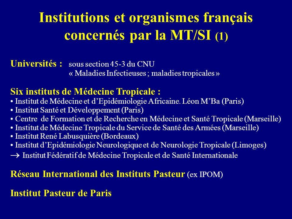 Institutions et organismes français concernés par la MT/SI (1) Universités : sous section 45-3 du CNU « Maladies Infectieuses ; maladies tropicales »