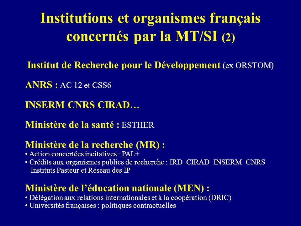 Institutions et organismes français concernés par la MT/SI (2) Institut de Recherche pour le Développement (ex ORSTOM) ANRS : AC 12 et CSS6 INSERM CNR