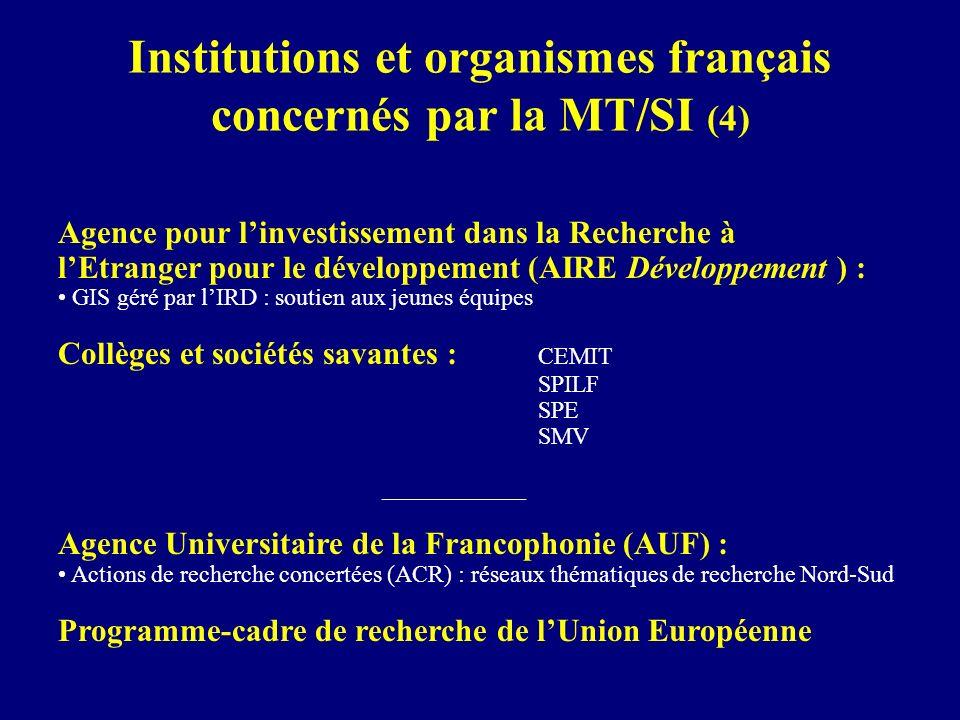 Institutions et organismes français concernés par la MT/SI (4) Agence pour linvestissement dans la Recherche à lEtranger pour le développement (AIRE D