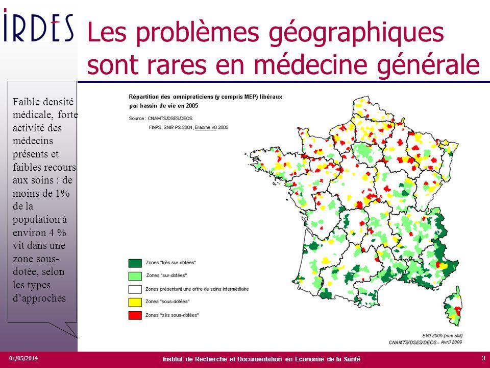 Institut de Recherche et Documentation en Economie de la Santé Les problèmes géographiques sont rares en médecine générale 01/05/2014 3 Faible densité