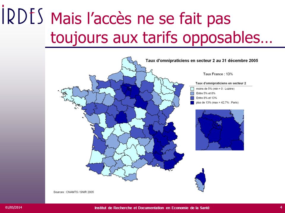 Institut de Recherche et Documentation en Economie de la Santé Mais laccès ne se fait pas toujours aux tarifs opposables… 01/05/2014 4