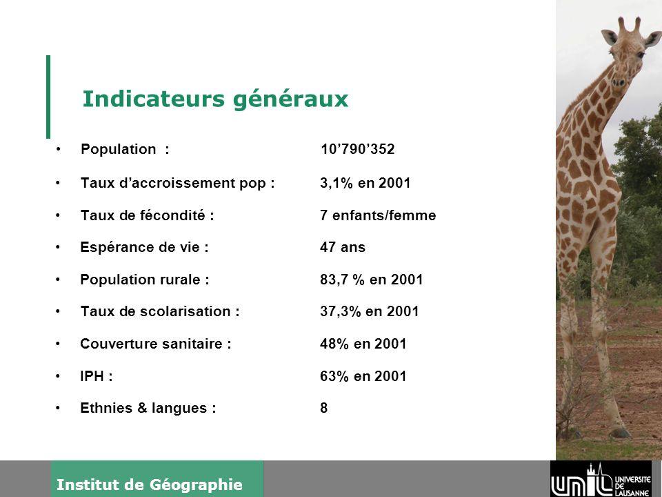 3 Institut de Géographie Indicateurs généraux Taux daccroissement pop :3,1% en 2001 Taux de fécondité :7 enfants/femme Espérance de vie :47 ans Popula