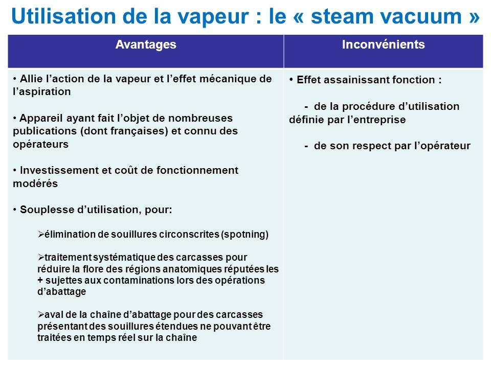 Utilisation de la vapeur : le « steam vacuum » AvantagesInconvénients Allie laction de la vapeur et leffet mécanique de laspiration Appareil ayant fai