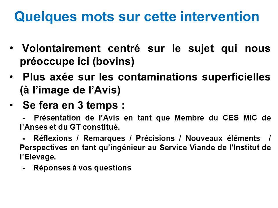 Question 1D Des indicateurs permettant dapprécier la qualité dune carcasse dont léviscération a été retardée peuvent-ils être définis.