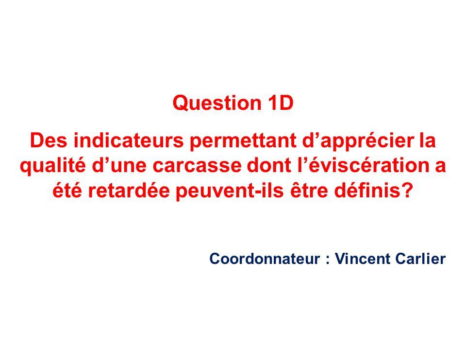 Question 1D Des indicateurs permettant dapprécier la qualité dune carcasse dont léviscération a été retardée peuvent-ils être définis? Coordonnateur :