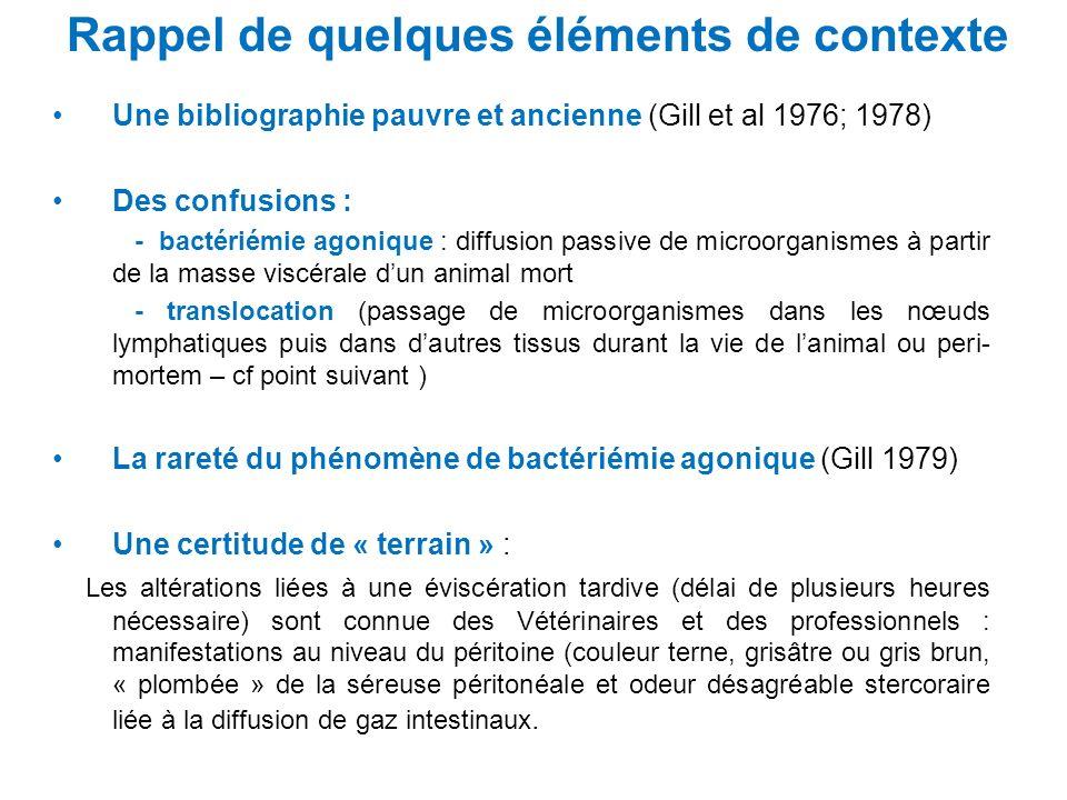 Rappel de quelques éléments de contexte Une bibliographie pauvre et ancienne (Gill et al 1976; 1978) Des confusions : - bactériémie agonique : diffusi