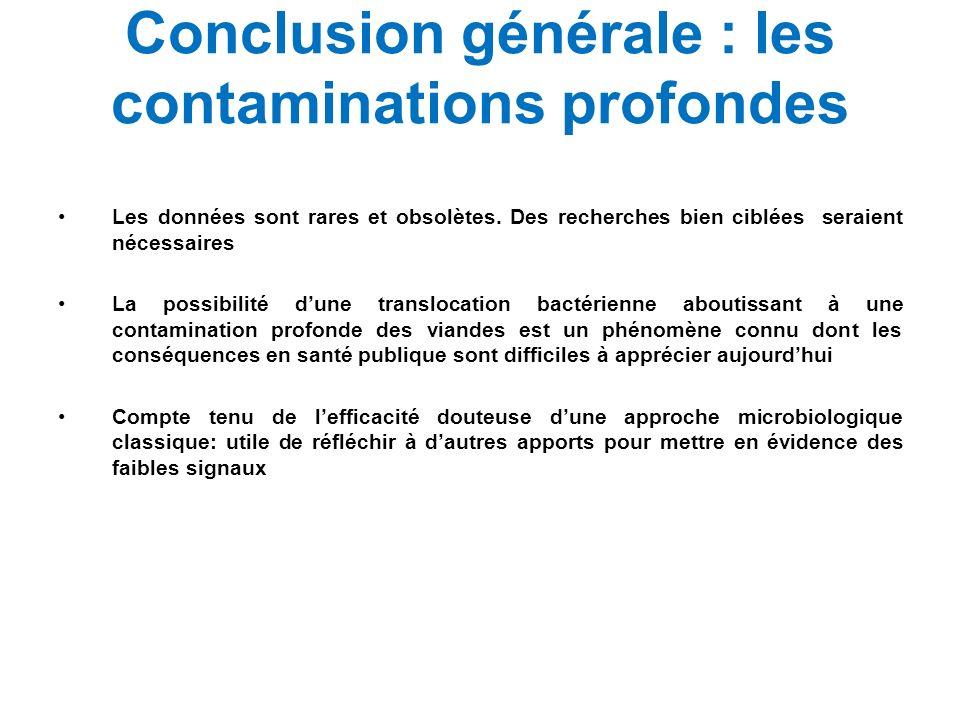 Conclusion générale : les contaminations profondes Les données sont rares et obsolètes. Des recherches bien ciblées seraient nécessaires La possibilit