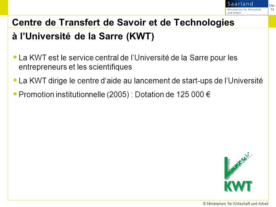Mai-14 © Ministerium für Wirtschaft und Arbeit La KWT est le service central de lUniversité de la Sarre pour les entrepreneurs et les scientifiques La KWT dirige le centre daide au lancement de start-ups de lUniversité Promotion institutionnelle (2005) : Dotation de 125 000 Centre de Transfert de Savoir et de Technologies à lUniversité de la Sarre (KWT)