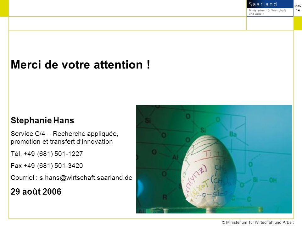 Mai-14 © Ministerium für Wirtschaft und Arbeit Merci de votre attention .