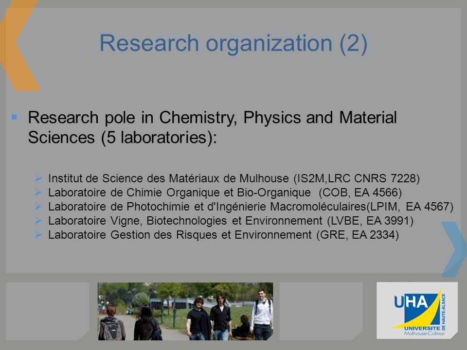 Research organization (2) Research pole in Chemistry, Physics and Material Sciences (5 laboratories): Institut de Science des Matériaux de Mulhouse (I