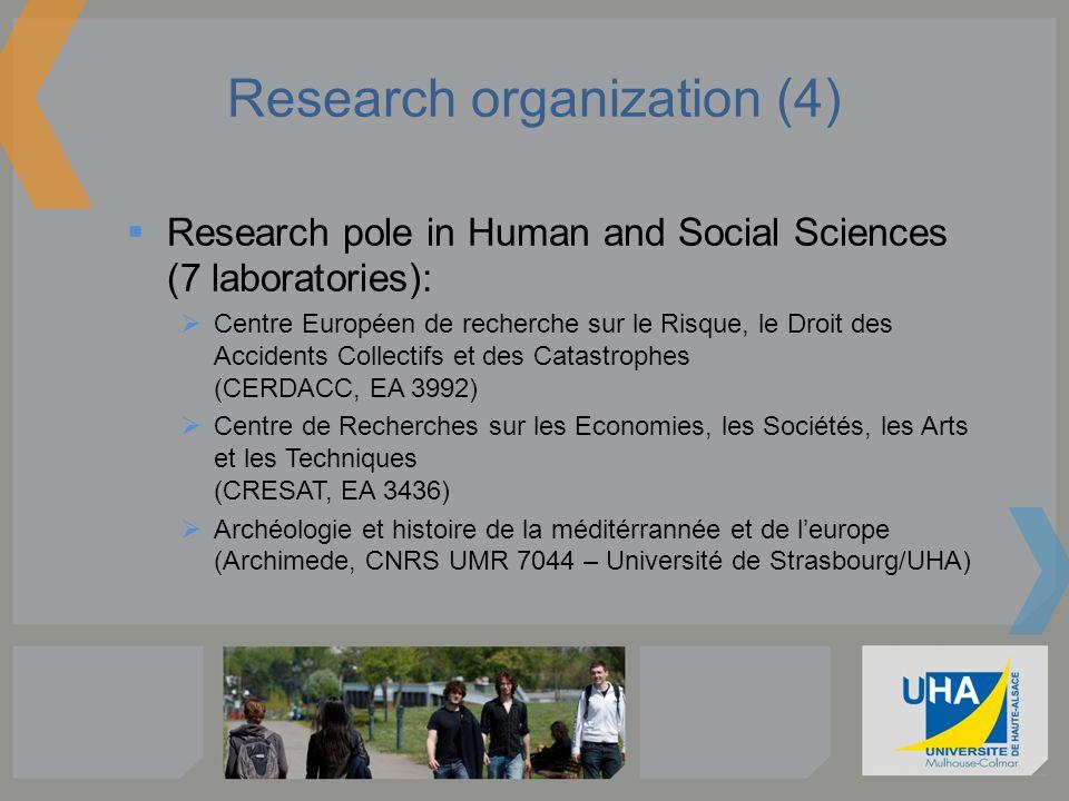 Research organization (4) Research pole in Human and Social Sciences (7 laboratories): Centre Européen de recherche sur le Risque, le Droit des Accide