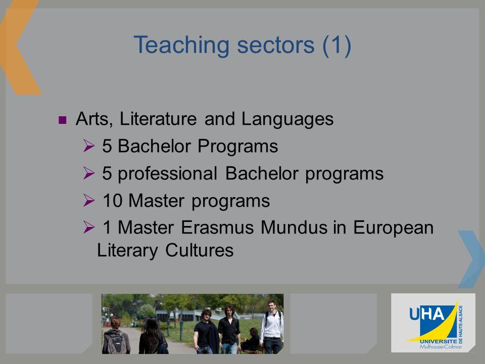 Teaching sectors (2) Humanities and Social Sciences 2 Bachelor Programs 4 professional Bachelor Programs 11 Master Programs