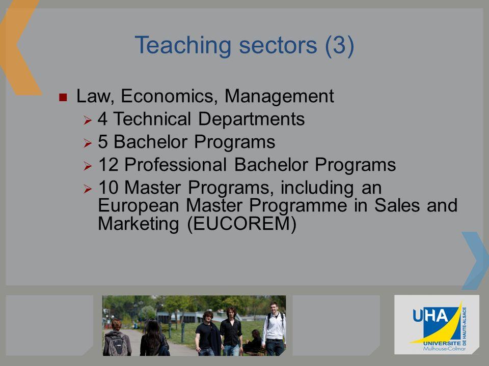 Teaching sectors (3) Law, Economics, Management 4 Technical Departments 5 Bachelor Programs 12 Professional Bachelor Programs 10 Master Programs, incl