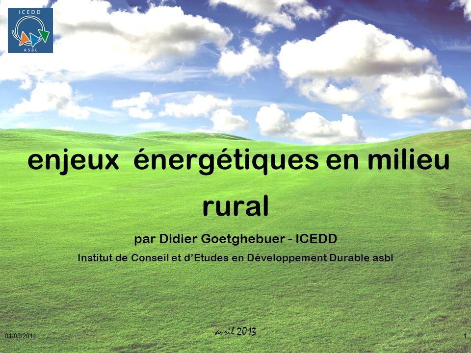01/05/20141 enjeux énergétiques en milieu rural par Didier Goetghebuer - ICEDD Institut de Conseil et dEtudes en Développement Durable asbl avril 2013
