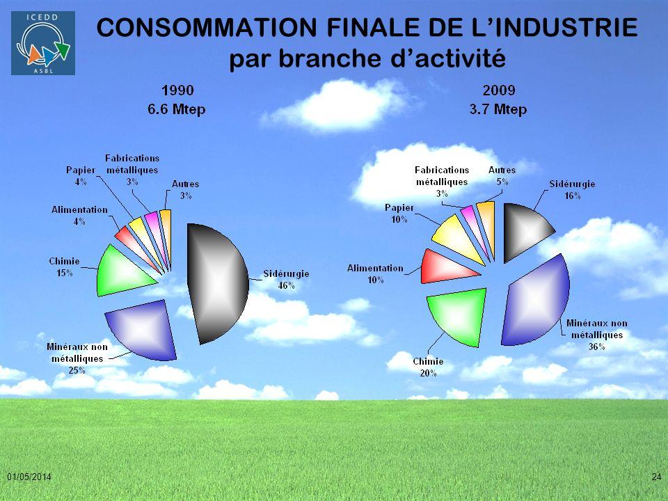 01/05/201424 CONSOMMATION FINALE DE LINDUSTRIE par branche dactivité