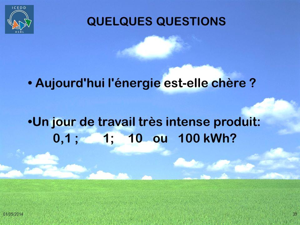 01/05/201439 QUELQUES QUESTIONS Aujourd'hui l'énergie est-elle chère ? Un jour de travail très intense produit: 0,1 ; 1;10ou100 kWh?