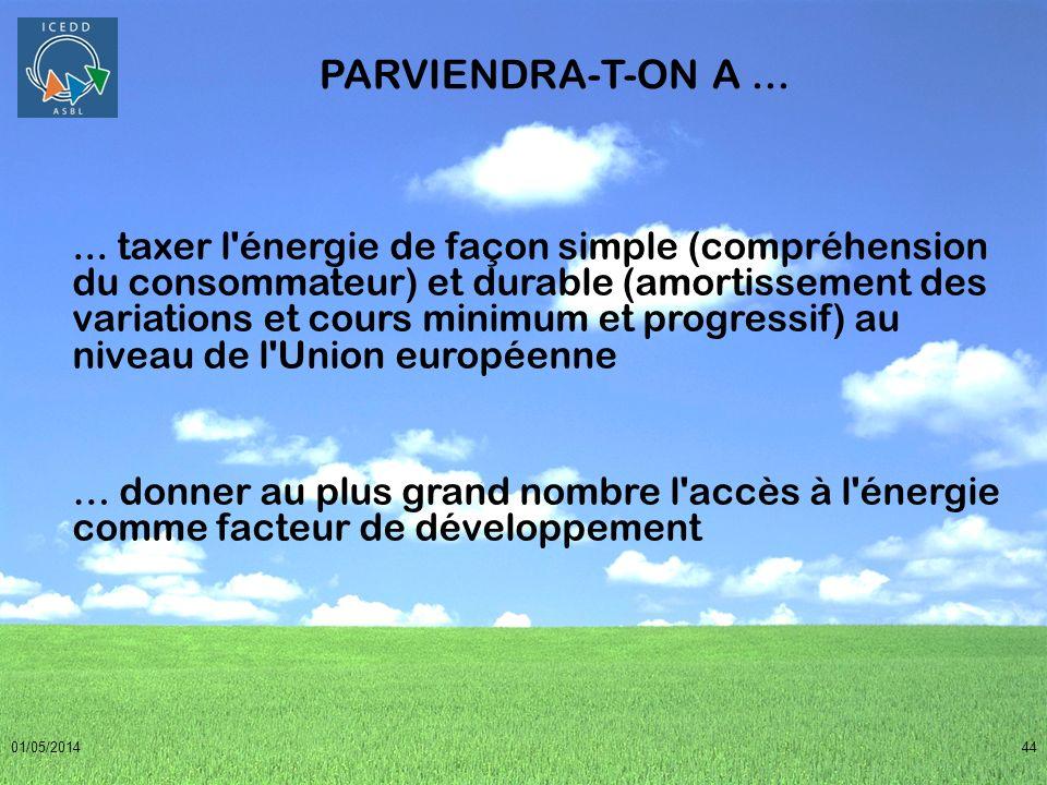 01/05/201444 PARVIENDRA-T-ON A...... taxer l'énergie de façon simple (compréhension du consommateur) et durable (amortissement des variations et cours