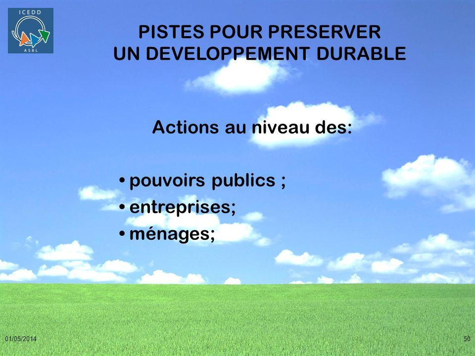 01/05/201450 PISTES POUR PRESERVER UN DEVELOPPEMENT DURABLE Actions au niveau des: pouvoirs publics ; entreprises; ménages;