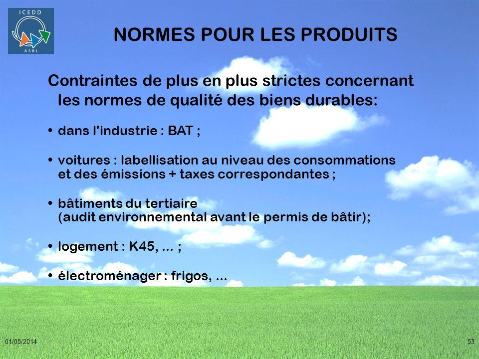 01/05/201453 NORMES POUR LES PRODUITS Contraintes de plus en plus strictes concernant les normes de qualité des biens durables: dans l'industrie : BAT
