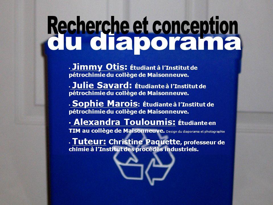 Jimmy Otis: Étudiant à lInstitut de pétrochimie du collège de Maisonneuve. Julie Savard: Étudiante à lInstitut de pétrochimie du collège de Maisonneuv