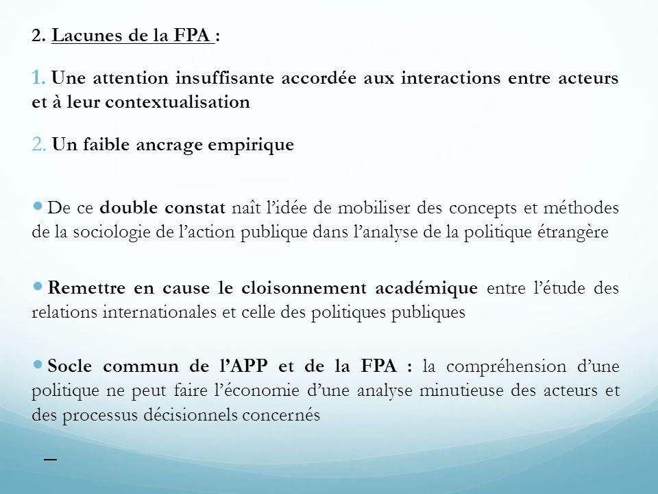 2. Lacunes de la FPA : 1. Une attention insuffisante accordée aux interactions entre acteurs et à leur contextualisation 2. Un faible ancrage empiriqu