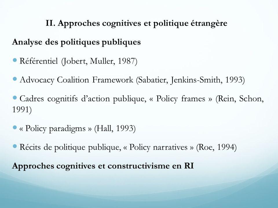 II. Approches cognitives et politique étrangère Analyse des politiques publiques Référentiel (Jobert, Muller, 1987) Advocacy Coalition Framework (Saba