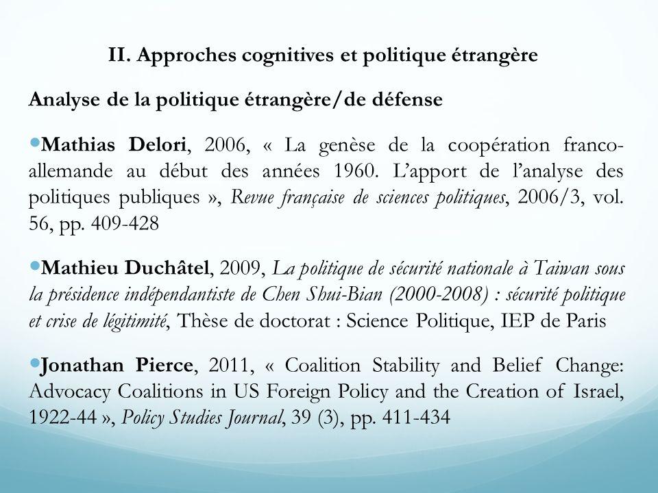 II. Approches cognitives et politique étrangère Analyse de la politique étrangère/de défense Mathias Delori, 2006, « La genèse de la coopération franc