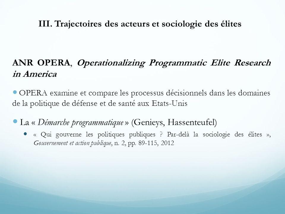III. Trajectoires des acteurs et sociologie des élites ANR OPERA, Operationalizing Programmatic Elite Research in America OPERA examine et compare les