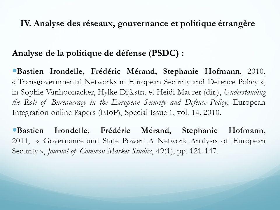IV. Analyse des réseaux, gouvernance et politique étrangère Analyse de la politique de défense (PSDC) : Bastien Irondelle, Frédéric Mérand, Stephanie