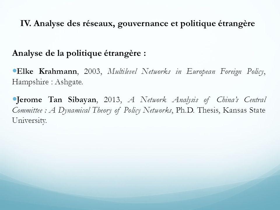 IV. Analyse des réseaux, gouvernance et politique étrangère Analyse de la politique étrangère : Elke Krahmann, 2003, Multilevel Networks in European F